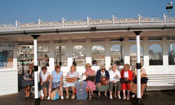 Older women at Brighton beach, UK