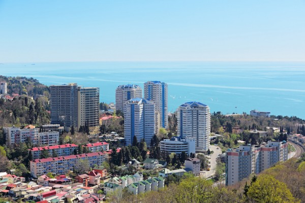 Russia, Krasnodar krai, Sochi cityscape, view from above of a modern residential building